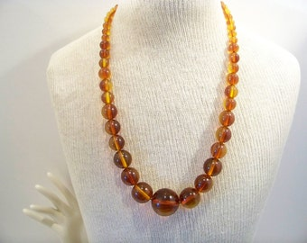 Vintage Cognac  BALTIC AMBER  Art Deco Design Large Bead Necklace Baltic Amber Necklace Jewelry