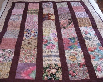 Quilted Flower Block Lap Size Coverlet