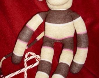 Chocolate cherry caramel striped sock monkey toy