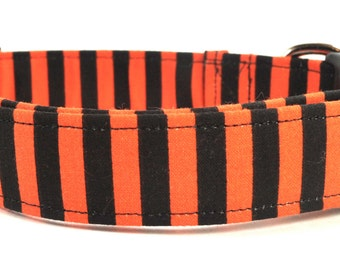 Orange and Black Halloween Striped Dog Collar
