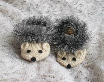 Hedgehog Slippers Knitting Pattern : Hedgehog slippers Etsy