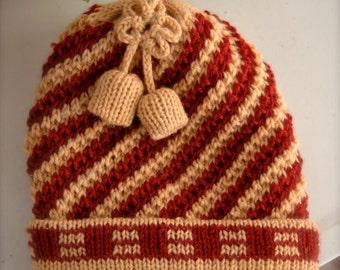 REDUCED Vintage 1980s Red & Mustard Tan Striped Pom Pom Beanie - Knit Bells - Stocking Stuffer