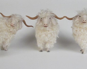 Handmade Porcelain and Mohair Angora Goat Figurines