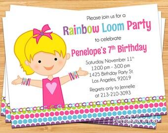Rainbow Loom Kids Birthday Invitation