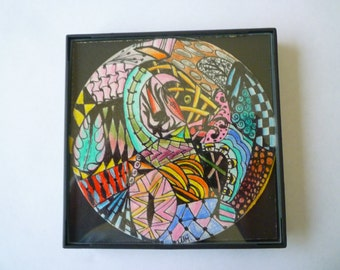 FRAMED abstract Zentangle inspired, 4x4 inch, use a as a grouping on small wall.#10