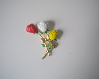 Vintage Danecraft Red White and Yellow Rose Brooch