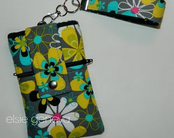Gray Black Aqua Yellow Hot Pink Floral iPhone 4 5 6  Plus Phone Case Wristlet Key Fob Front Back Zipper Pocket or Choose Any Fabric in Shop