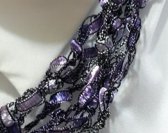 Purple - Hand Crocheted Ladder Ribbon Necklaces