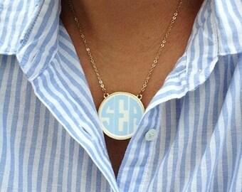 Enamel Monogrammed Necklace