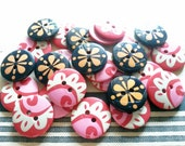 25 pcs Cute Retro flower graphic  Buttons  size 19mm