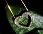 Genuine Diamond Heart Pendant Slide in solid 10k Gold on Solid 14k Gold Chain