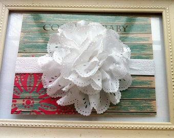 White Flower Headband...Baby White Flower Headband...Newborn White Headband...Baby Flower Headband