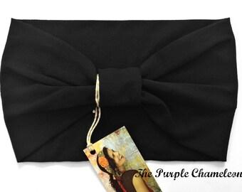 Classic Black Turban Head Wrap Headband Knit Headwrap Solid Black Bohemian Headwrap