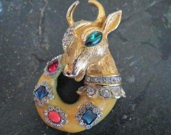 60's KJL Kenneth Jay Lane Vintage Mythological Fantasy Brooch Pin