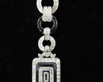Spectacular Signed ART DECO 89 Long Crystal & Faux Onyx Brooch