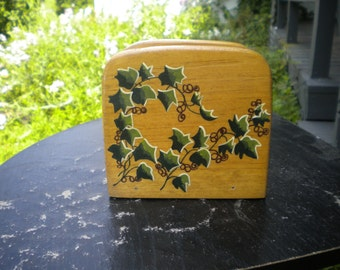 Ivy Napkin caddy, wood napkin holder, original painting, ivy painting acrylic painting, storage container, napkin basket, napkin dispenser,