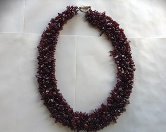 Lovely Garnet necklace 4 rows knott gifts under 50 necklace red wine aubergine
