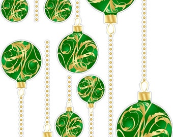 Green And Gold Christmas Ornaments Static Cling Window Decals Removable and Reusable Holiday Clings