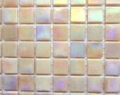 "15mm (3/5"") Pale Peach Pink Iridescent Glass Mosaic Tiles //Craft Supplies//Mosaic//Mosaic Supplies"