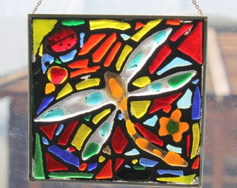 Dragonfly fused,, Stained Glass SunCatcher or wall Decoration