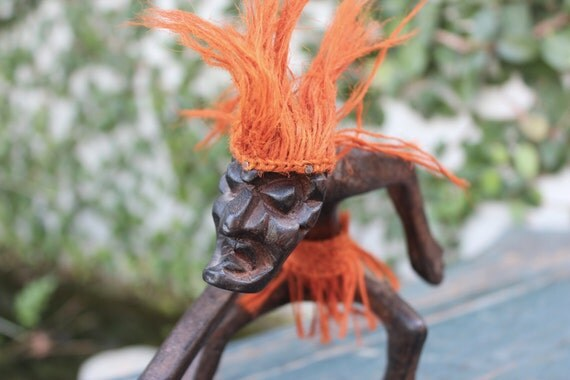 S tiki surfer dude hand carved wood blazing hair grass