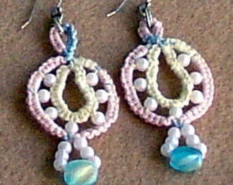 Tatted Pastel and Pearls Circle Wheel Earrings