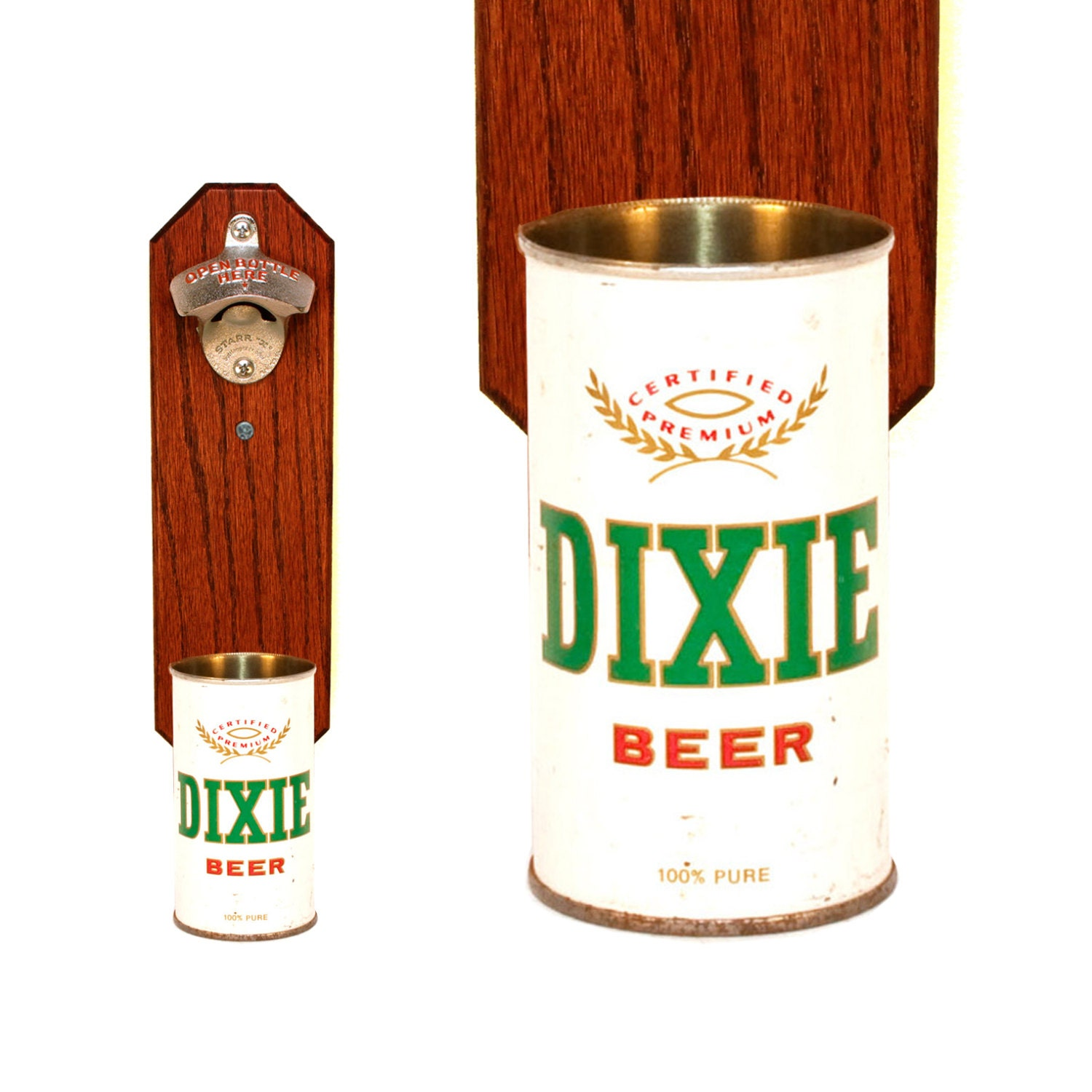 Dixie Beer Wall Bottle Opener With Vintage Beer Can By
