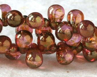 4x6 Smooth Glass Teardrop Beads - Czech Glass Beads - Tear Drop Beads - Jewelry Making Beads - Luster Rose Gold (100 Drops)