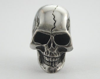 1 pc Silver Skull Crack Head Screwback Studs Leathercraft Decorations Findings. SK SC556 603
