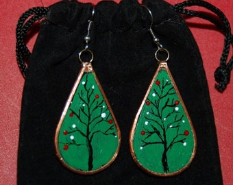 "Handmade ""Charlie Brown Christmas Tree"" Glass and Copper Earrings"