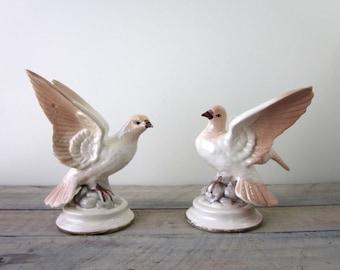 Vintage Porcelain Pink Bird Figurines Set of Two