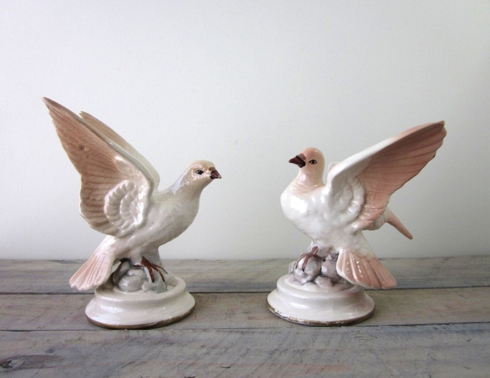 Vintage Porcelain Pink Bird Figurines Set Of Two