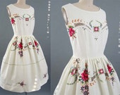 Vintage 1950's 50's textile ROSE EMBROIDERY Peek-A-Boo Lace inset Butter Cream Summer Garden Party Dress