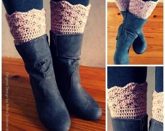 Boot Cuff Crochet Pattern - Shell Trim Boot Cuffs Pattern No.910 Digital Download PDF