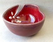 Yarn Bowl, knitting bowl, red, heart, seen in Knit Simple magazine