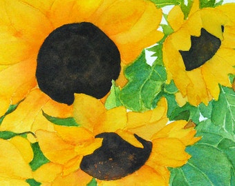"sunflowers watercolor archival print of original painting 5"" x 7"""