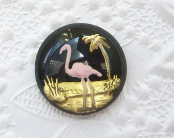 1 - Pink Flamingo intaglio glass cameo 18mm Czech glass - ZX122