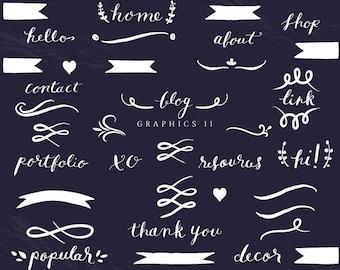 Blog and Web Graphics Clip Art - Hand Written Word Text Divider Flourish Swirl Vintage Banner Wreath Laurels Chalkboard