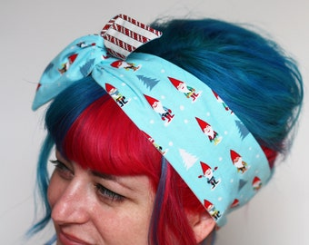 Christmas Reversible Wired Bow Headband, Christmas Gnomes and Candy Canes