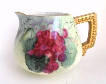 Antique Bavarian Water Pitcher Red and Purple Grapes, Artist Signed// Vintage Porcelain Cider Jug//Lemonade Pitcher//Vintage China Serveware