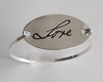 Memorial Jewelry SIlver Bracelet -  From Writing you provide to me NEW SHAPE - Made to order