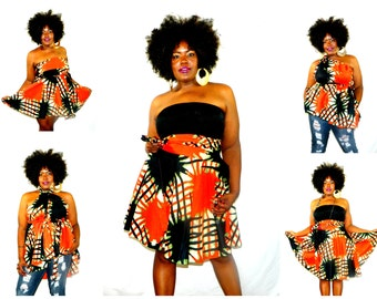 """African Print Convertible Plus Size Short Dress Tunic Skirt Sizes ( 2 - 24 ) 25"""" L ...choose your fabric"""