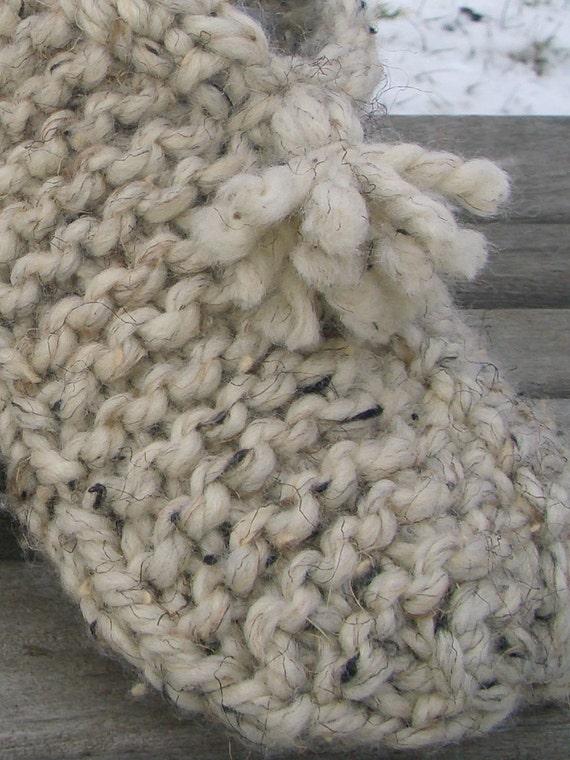 Knitting Pattern For Wool Slippers : Knitting Pattern Wool MEDIUM Slipper Socks - Knitted ...