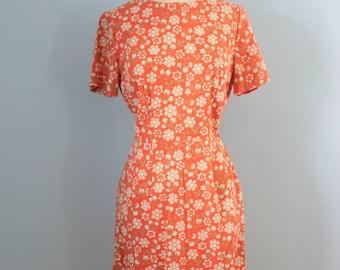 1960s cotton dress / 60s cotton floral print shift dress / Get Happy dress