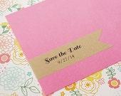 Save the Date Wraparound Address Labels - Design #02, Custom Return Address Labels, Brown Kraft, Save the Date, Wedding Invitations