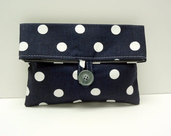 Polka Dot Cosmetic Bag in Navy - READY TO SHIP
