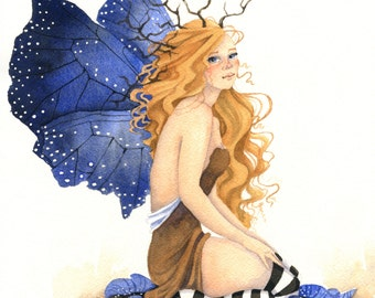 Fairy Art Print - Wistful - fantasy. woodland. leaves. deep blue. ultramarine. whimsical.