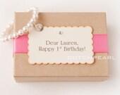 HAPPY BIRTHDAY - Personalized  kids jewelry bracelet with monogram - dutchpearl  - baby girl pearl bracelet - flower girl bridesmaid
