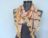 Apricot - Salmon scarf - chiffon scarf- long women scarf - women accessories scarf