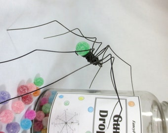 Delicate Long-Legged Mint Green GumDrop Spider Repurposed Sculpture